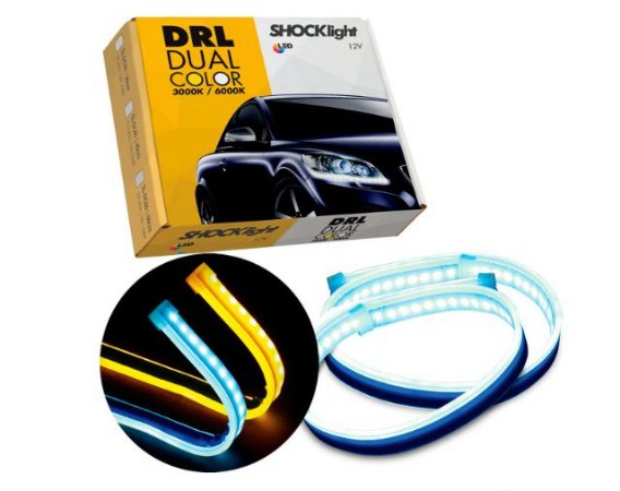 PAR FITA DE LED PARA FAROL DUAL COLOR 60 CM DRL - SHOCKLIGHT