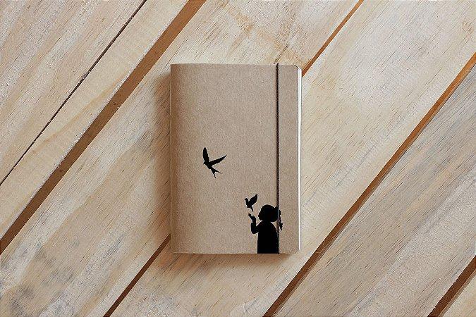 Caderno artesanal de bolso A6 - Garota pássaros