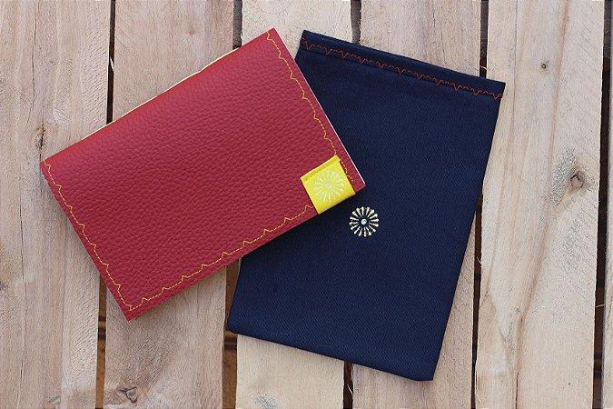 Caderneta de bolso de luxo em couro sintético cereja - POLIANA LOPES