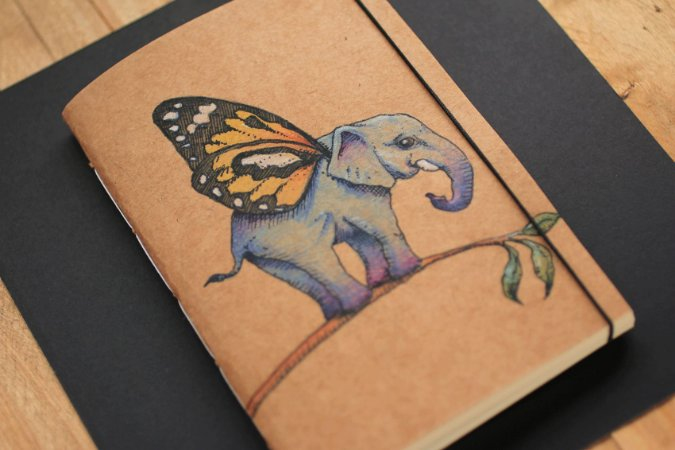Caderneta pintada a mão (aquarela) - Daniel Rodrigues - Bodoque