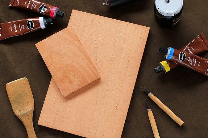 Matriz de cedro para xilogravura formato 20 x 30cm Bodoque