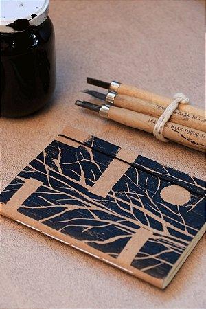 Caderno artesanal formato A6 - Xilogravura - Bodoque Artes & ofícios