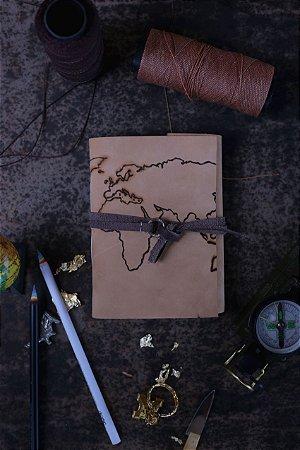 Diário de viagem nude - mapa-mundi formato A6 Bodoque