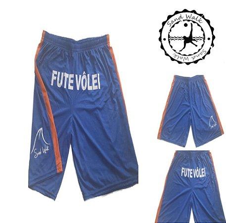 Shorts Futevôlei Sand Walk Azul/Laranja