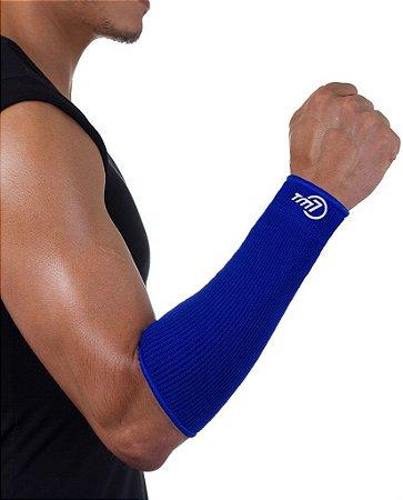 Protetor De Antebraço Para Voleibol BRAC7 No Punho Azul