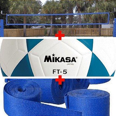Combo Futevôlei Mikasa Ft5 + Rede 4 Faixa + Marcação de Fita