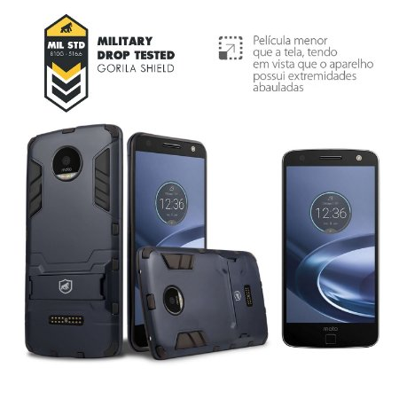 Kit Capa Armor e Película de Vidro para Motorola Moto Z - Gorila Shield