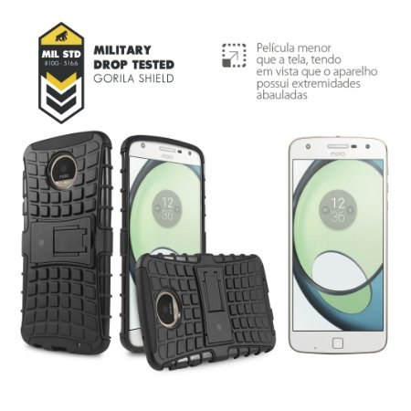 Kit Capa D-Shield e Película de Vidro para Motorola Moto Z Play - Gorila Shield