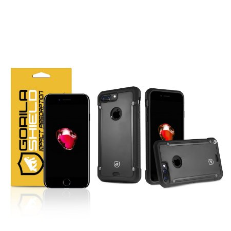 Kit Capa Black Shield e Película de vidro dupla para iPhone 7 Plus - Gorila Shield