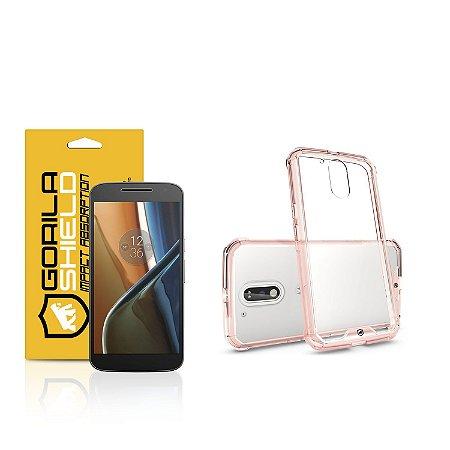 Kit Capa Ultra Slim Air Rosa e Película de vidro dupla para Motorola Moto G4 - Gorila Shield