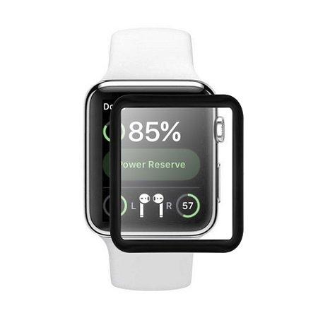 Película de Vidro Coverage Color para Apple Watch / Iwatch 38mm - Preta - Gorila Shield (Cobre toda tela)