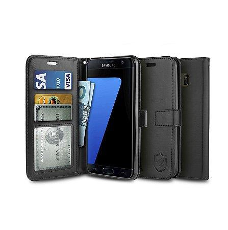 Capa Carteira Preta para - Samsung Galaxy S7 Edge - Gorila Shield