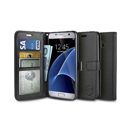 Capa Carteira Preta para - Samsung Galaxy S7 Flat - Gorila Shield