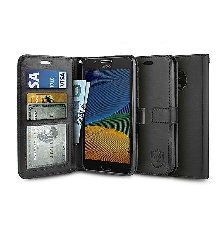 Capa Carteira Preta para - Motorola Moto G5 - Gorila Shield