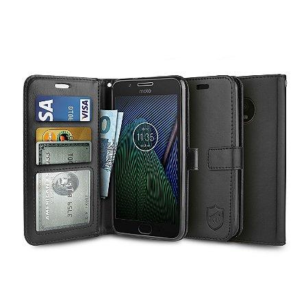 Capa Carteira Preta para - Motorola Moto G5 Plus - Gorila Shield