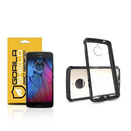 Kit Capa Ultra Slim Air Preta e Película de vidro dupla para Motorola Moto G5s - Gorila Shield