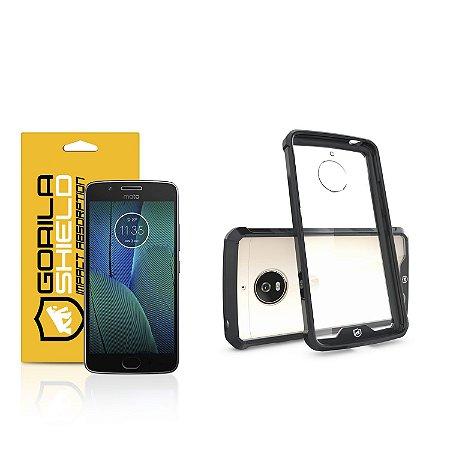 Kit Capa Ultra Slim Air Preta e Película de vidro dupla para Motorola Moto G5S Plus - Gorila Shield