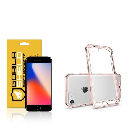 Kit Capa Ultra Slim Air Rosa e Película de vidro dupla para iPhone 8 - Gorila Shield