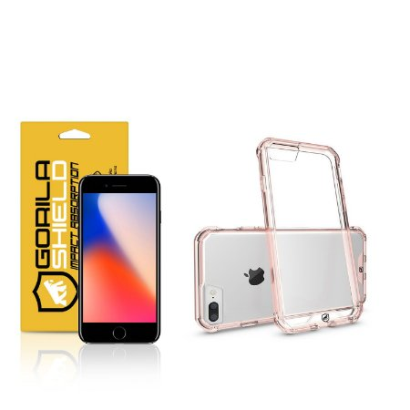 Kit Capa Ultra Slim Air Rosa e Película de vidro dupla para Iphone 8 plus – Gorila Shield