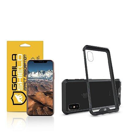 Kit Capa Ultra Slim Air Preta e Película de vidro dupla para Iphone X - Gorila Shield