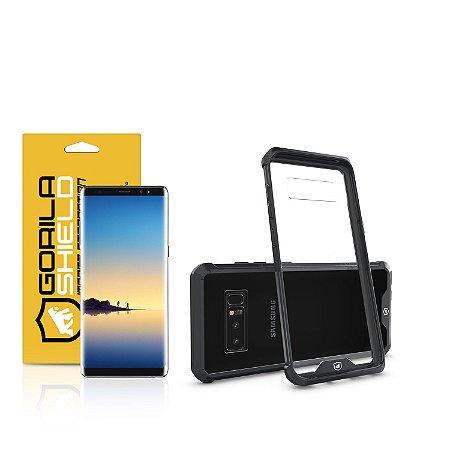 Kit Capa Ultra Slim Air Preta e Película Nano Gel dupla para Samsung Galaxy Note 8 - Gorila Shield