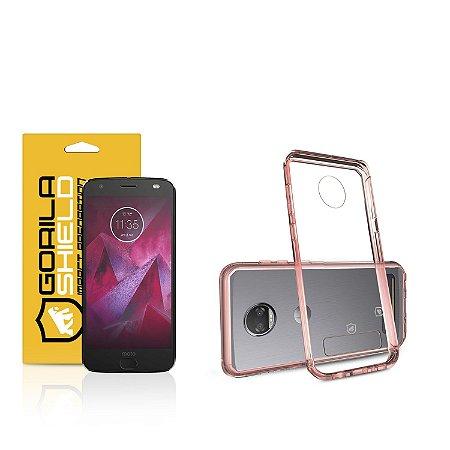Kit Capa Ultra Slim Air Rosa e Película de vidro dupla para Motorola Moto Z2 Play - Gorila Shield