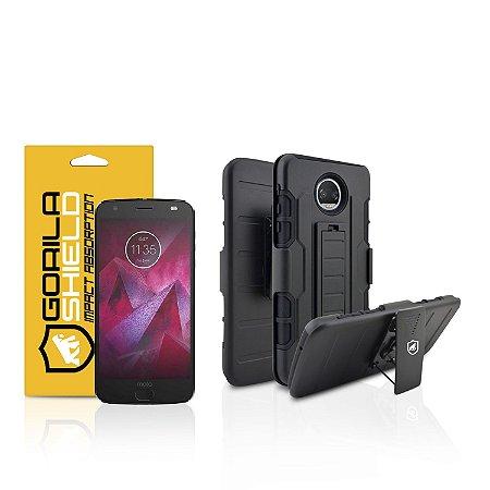 Kit Capa Clip e Película de vidro dupla para Motorola Moto Z2 Force - Gorila Shield