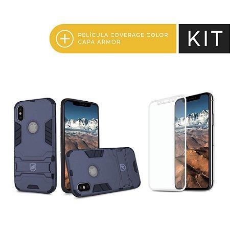 Kit Capa Armor e Película Coverage Branca para iPhone X - Gorila Shield