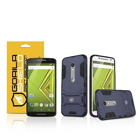 Kit Capa Armor e Película de vidro dupla para Motorola Moto X Play - Gorila Shield