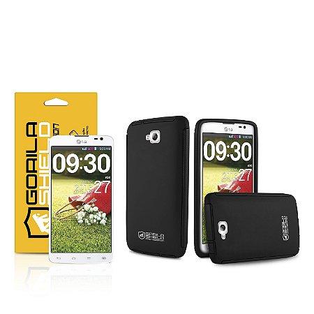 Kit Capa Protetora e Película de vidro dupla para LG G pro lite - Gorila Shield