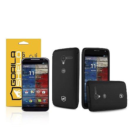 Kit Capa Protetora e Película de vidro dupla para Motorola Moto X - Gorila Shield