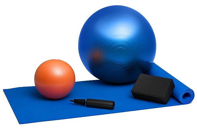Kit Pilates Bola Suíça 65cm + Tapete + Overball + Bloco