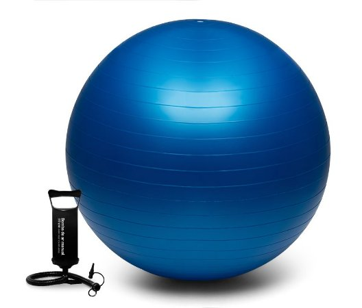 Bola Suíça Para Pilates Yoga Ginástica 65cm Azul Woker