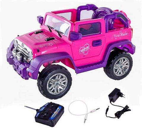 Jipe Rali Carro Elétrico Infantil Pink Com Controle Remoto Belfix