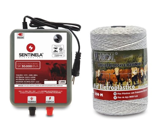 Kit Cerca Elétrica Rural Eletrificador Sr 30.000 + Fio 250m