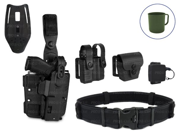 Kit Coldre de Perna e Cintura MP04+Fiel+Cinto+Porta Carregador e Algema
