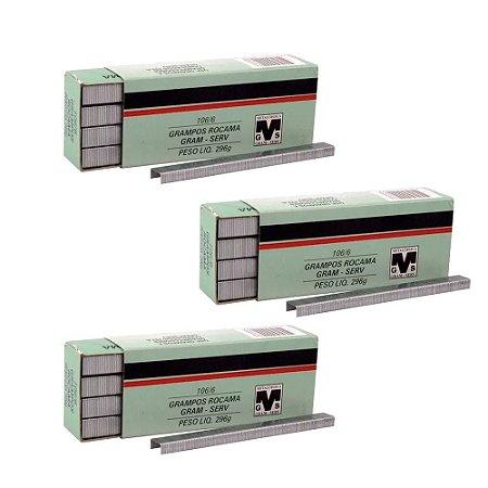 Kit com 3 Caixas de Grampo 6mm 106-6 Rocama