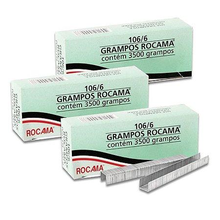 Kit com 3 Caixas de Grampos 6mm 106-6 Polidos para Grampeador Rocama