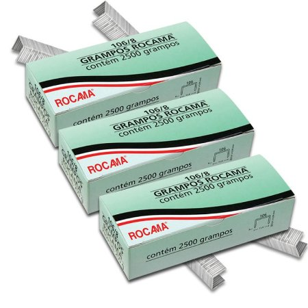 Kit com 3 Caixas de Grampos 8mm 106-8 Polidos para Grampeadores Rocama