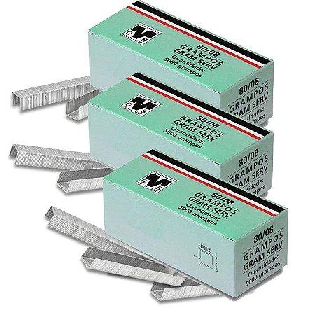 Kit com 3 Caixas de Grampos 8mm 80-08 para Grampeadores Rocama