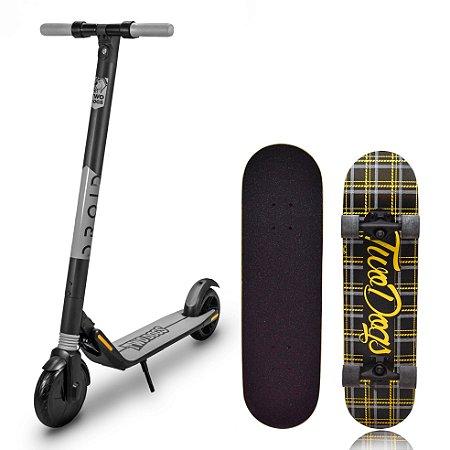 Patinete Elétrico Droid 350W S/ Bluetooth + SkateBoard Street Xadrez TwoDogs
