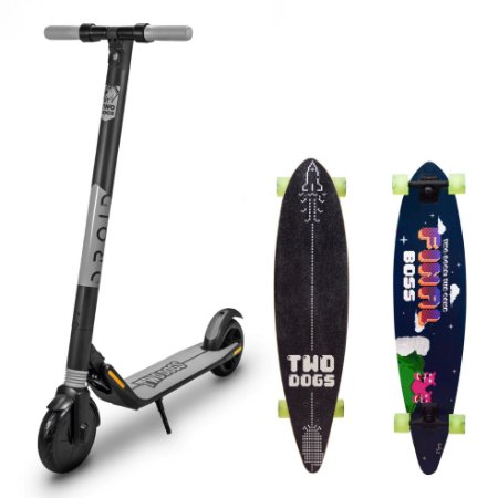 Patinete Elétrico Droid 350W S/ Bluetooth + Longboard Flying D3 TwoDogs