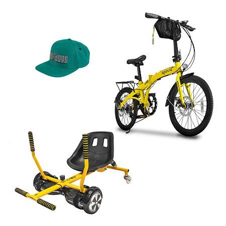 Bicicleta Pliage Plus Dobrável + Go Kart Drift + Boné Scooter Point Two Dogs