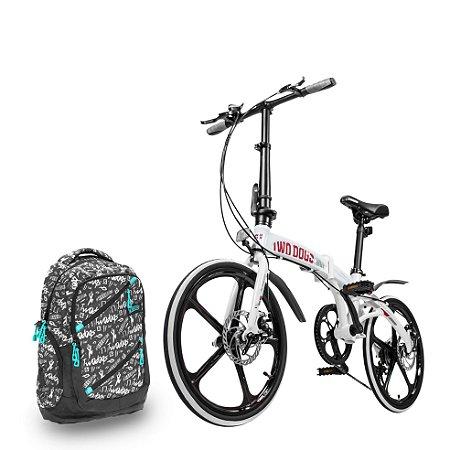 Bicicleta Pliage Alloy + Mochila Casual c/ USB 30L Two Dogs