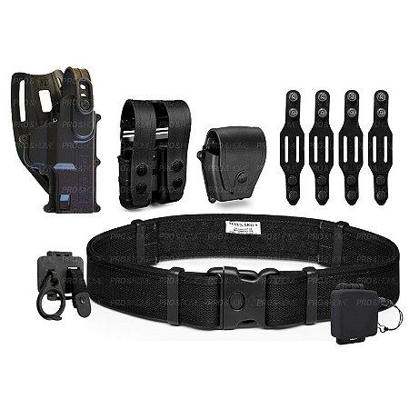 Coldre Cintura MC03 + Cinto + Porta Carregador e Algema + Presilhas Maynards Padrão PMDF