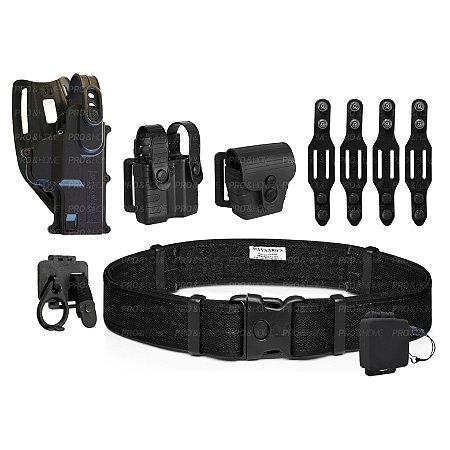 Coldre Cintura MC03 + Cinto + Presilhas Maynards + Porta Carregador e Algema Bélica +  Padrão PMDF