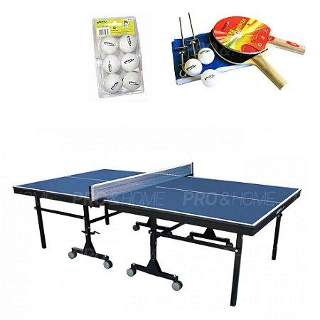 Kit Ping Pong / Tênis de Mesa 1008 com Raquete, Rede e Bolas Klopf