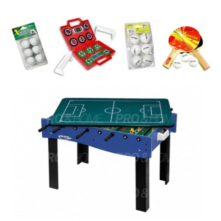 Kit Jogos Galera 3 em 1 - Pebolim, Mini Ping-Pong e Futebol de Botão Klopf