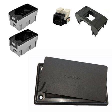 Caixa Elétrica 3 Blocos para Mesa + Tomadas e Conector RJ45 Internet Qtmov