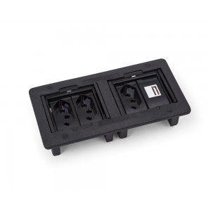 Caixa Elétrica 4 Blocos para Mesa com Tomadas e Carregador USB QTMov